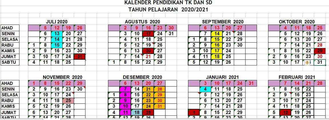KALENDER PENDIDIKAN TAHUN AJARAN 2020 2021